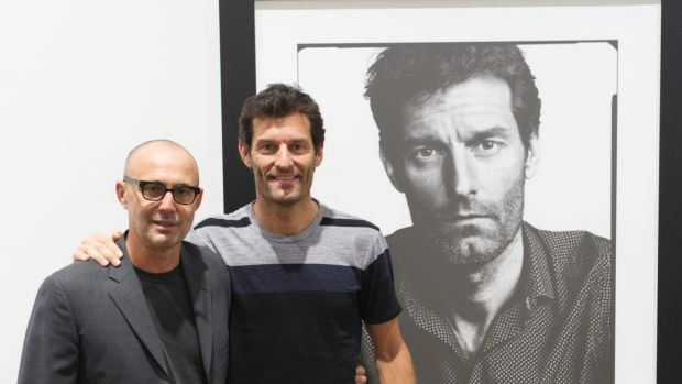 Mark Webber with photographer Gino Zardo in front of their portrait.