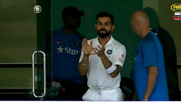 Virat Kohli claps Steve Smith after failed DRS call.