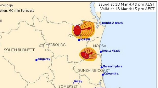 The Bureau of Meteorology issued a severe storm warning for Noosa and Cooloola about 4.45pm on Saturday.