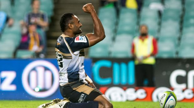 Tevita Kuridrani salutes the crowd after scoring between the posts.