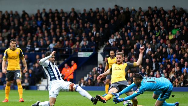 Hal Robson-Kanu scores West Bromwich Albion's second goal.