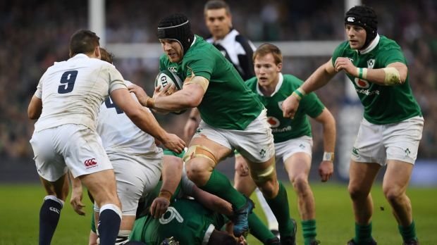 Rampaging: Sean O'Brien breaks through for Ireland.