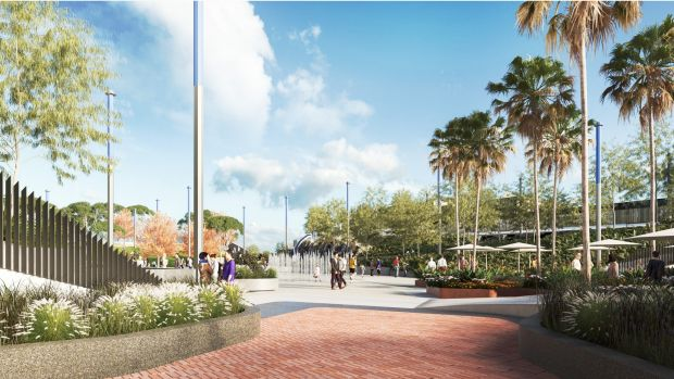 Artists drawings of a $60 million 'European-style' plaza set to rival Federation Square that will be built in the heart ...