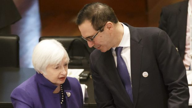 US Federal Reserve chair Janet Yellen with US Treasury Secretary Steven Mnuchin at the G20 Finance Ministers and Central ...