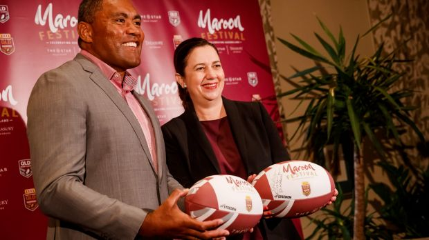 Queensland Premier Annastacia Palaszczuk and former Origin star Petero Civoniceva announcing Queensland's first State of ...