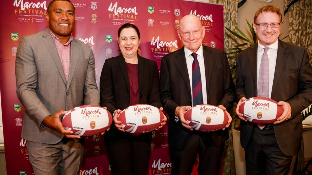 From left: former Origin star Petero Civoniceva, Premier Annastacia Palaszczuk, QRL chairman Bruce Hatcher and Star ...