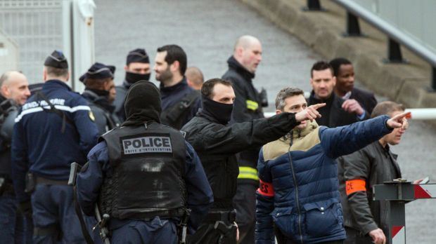 French police at Orly airport, south of Paris,  after the attack on Saturday. France has been under a state of emergency ...