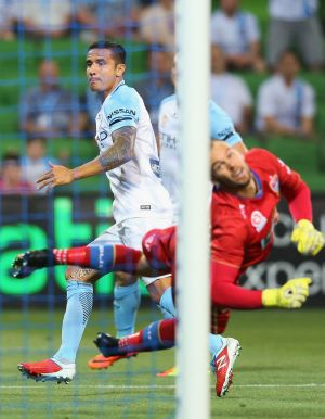 Cahill's goal came in the 12th minute against Newcastle at AAMI Park.