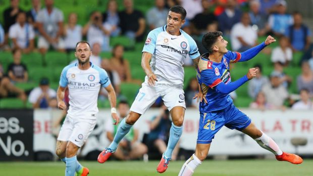 Melbourne City's first goal on Satuday was straight out of the Tim Cahill how-to-score-manual.