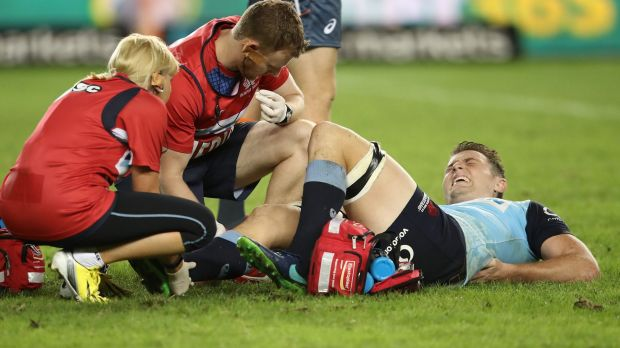 Sidelined: Jack Dempsey could be out for up to three months after hurting his foot in the Waratahs' loss to the Brumbies.