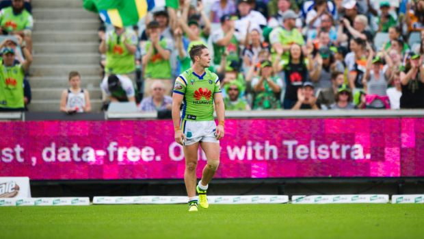 Canberra Raiders captain Jarrod Croker will lead the team out while the Green Machine song plays.