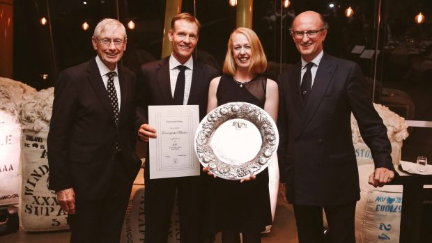 Winners of the Superfine Wool Trophy, David and Angie Waters (centre) with Paolo Zegna (far right).