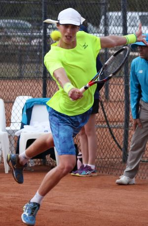 Marc Polmans in action on his way to winning the ACT Claycourt International on Sunday.