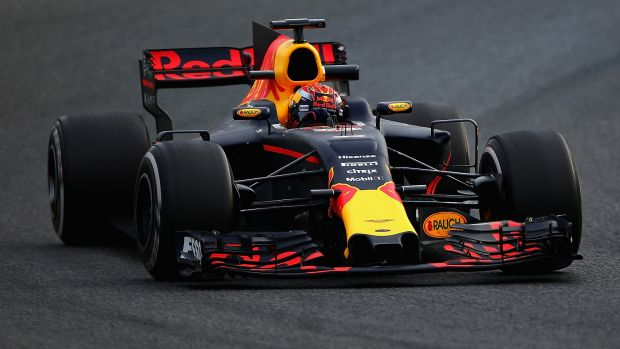 Max Verstappen in the Red Bull-TAG Heuer RB13 during winter testing.