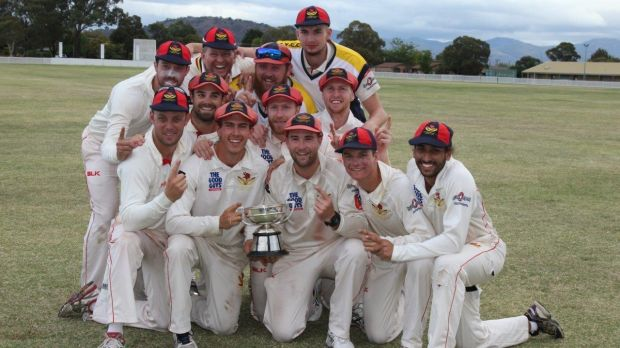 Tuggeranong players celebrate their Douglas Cup triumph.