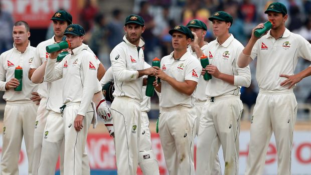 Frustration: Australian players watch another failed review.