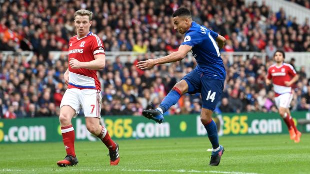 Jesse Lingard strikes for Manchester United against Middlesbrough at Riverside Stadium on Sunday.