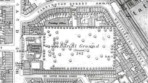 A 19th century map a former burial ground next to Euston station in north London where researchers say Matthew Flinders ...