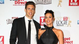 Shaun Hampson and Megan Gale arrive at the 57th Annual Logie Awards at Crown Palladium on May 3, 2015 in Melbourne, ...