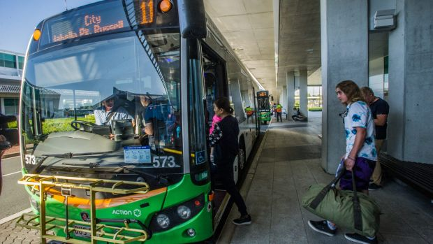 Canberra Airport's new public bus service started on Monday morning.