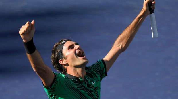 Ageless: Roger Federer celebrates his fifth Indian Wells title.