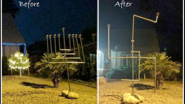 The Ellis family's home at the beginning of Hanukkah, left, and in the morning, when the menorah was vandalised, right.