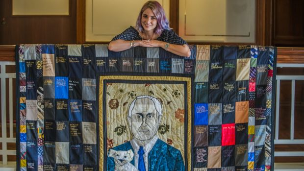 "Artist Tal Fitzpatrick has made a ""PM Please"" quilt."