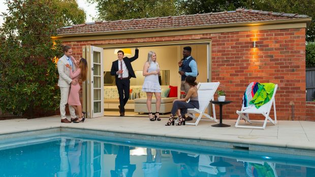 Glamorous pool party - the 'hero' shot for the 44 Frome marketing campaign.