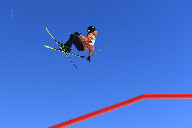 Andri Ragletti of Switzerland competes in the Men's Slopestyle final during day twelve of the FIS Freestyle Ski & ...