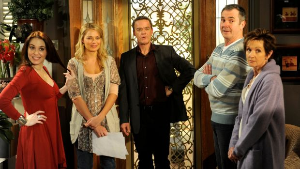 <i>Neighbours</i> 2010 cast on the set are (L-R) Kym Valentine (Libby Kennedy), Margot Robbie (Donna Freedman), Stefan ...