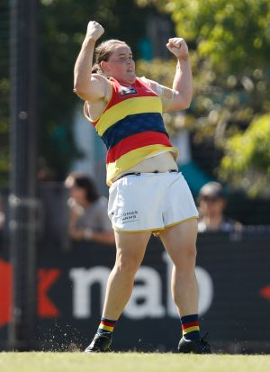 Crows hero Sarah Perkins celebrates a goal during the round seven win against Collingwood.