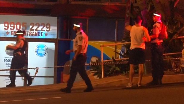 Police outside the Brookvale gym after three people were stabbed.