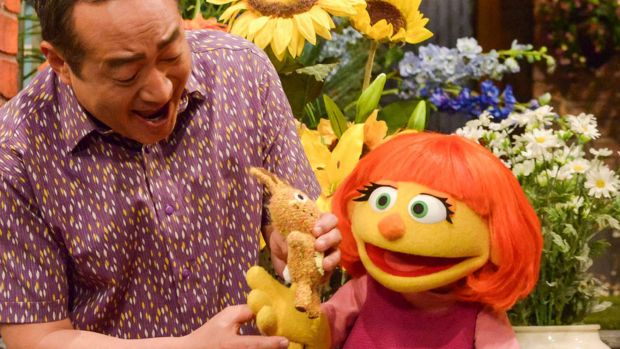 Julia, an autistic muppet character in Sesame Street.