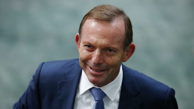 Former prime minister Tony Abbott departs question time on Monday.