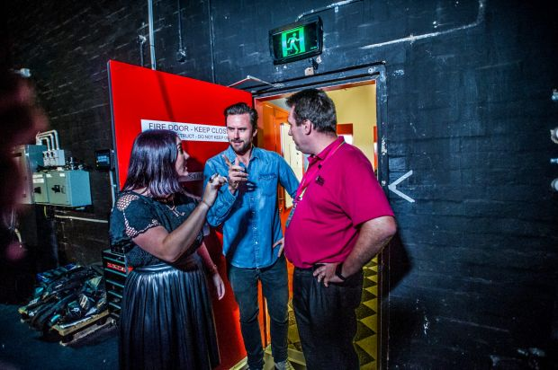 Journo Jil Hogan interviews MC Dave Thornton backstage at the Canberra theatre.