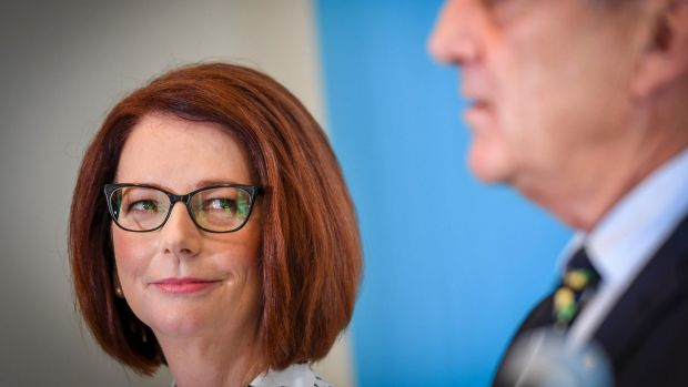 Former prime minister Julia Gillard, the new chair of beyondblue, pictured with founder and outgoing chairman Jeff ...