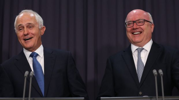 Prime Minister Malcolm Turnbull and Attorney-General Senator George Brandis in Parliament House on Tuesday.