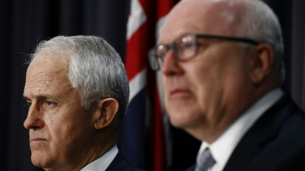 Prime Minister Malcolm Turnbull and Attorney-General Senator George Brandis at a press conference on Tuesday.
