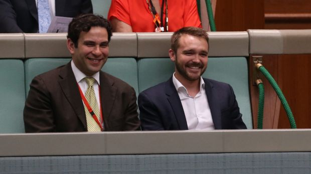 Former member Wyatt Roy (right) in the public gallery during question time on Tuesday.