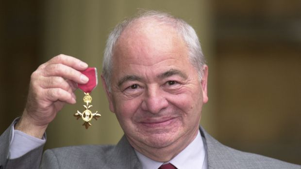 British author Colin Dexter after receiving an Order of the British Empire in 2007.