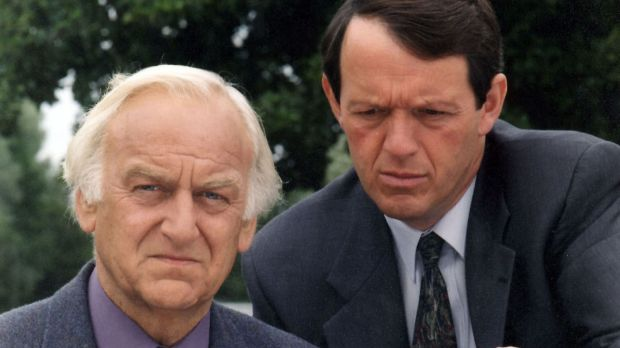 John Thaw as Inspector Morse, left, and co-star Kevin Whatlely as Lewis in 1996.