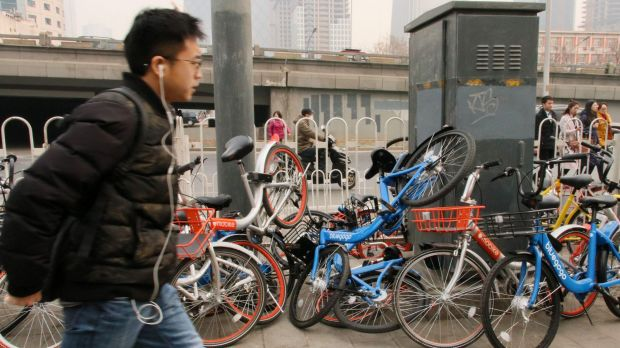 Shared bikes discarded by commuters rushing to work in Beijing's CBD.