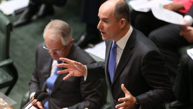 Prime Minister Malcolm Turnbull and Minister Stuart Robert during question time in Parliament House in February 2016.