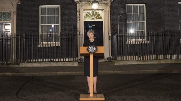 British Prime Minister Theresa May makes a statement in Downing street following the Wednesday terrorist incident in ...