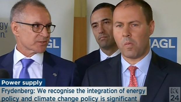 A still from the infamous Jay Weatherill and Josh Frydenberg press conference.