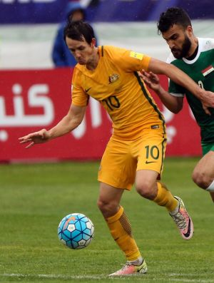 Australia's Robbie Kruse in action against Iraq during their World Cup qualifying match in March, 2017.