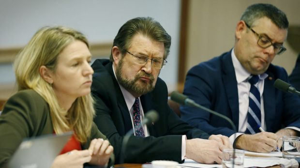Senator Derryn Hinch (middle) clashed with Gillian Triggs over the Bill Leak case.