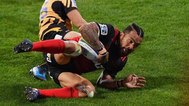 Try time: Former Red and Wallaby Digby Ioane crosses for the Crusaders.