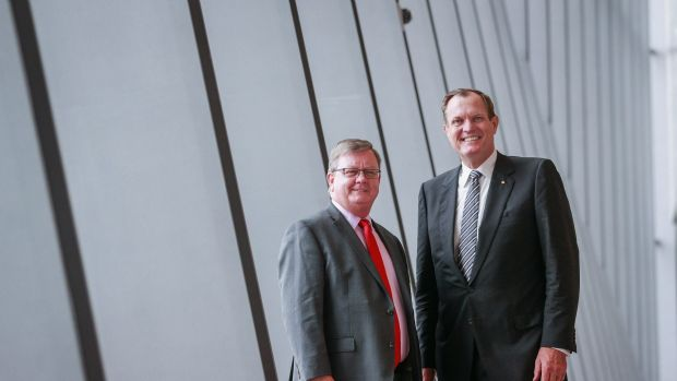 ATO's superannuation boss James O'Halloran, left, with Commissioner of Taxation Chris Jordan.