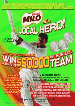 Cricket and Milo tie-up. Whether star power drives increased consumption remains unclear.